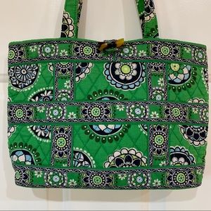 Vera Bradley Tote Shoulder Bag in Cupcakes Green